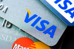 Credit cards with VISA and MasterCard brand logos Stock Photography