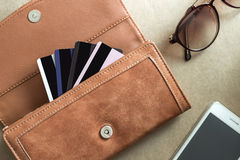 Credit cards in the wallet Stock Image