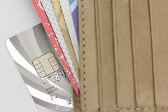 Credit cards in wallet Royalty Free Stock Photo