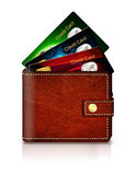 Credit cards in wallet over white background Stock Photo