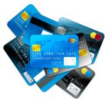 Credit cards on white background. Blue and grey credit cards isolated on white background Royalty Free Stock Photography