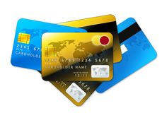 Credit cards on white background. Blue and golden credit cards isolated on white background Stock Image