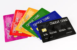 Credit Cards on white background Royalty Free Stock Photos