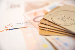 Credit Cards With Euro Cash Royalty Free Stock Photo