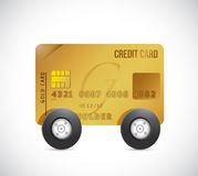 Credit cart on wheels. illustration design Royalty Free Stock Photo
