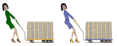 Credit Cash in the bank. The girl with black hair in a suit with a skirt rolls out a cart, on which laid a lot of bundles of hundred dollar bills Stock Photos