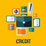 Credit concept in flat style. With briefcase surrounded by icons depicting graphs and analysis, credit card, pen, contract, rate, paperwork, dossier and Royalty Free Stock Photography
