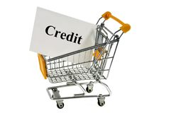 Credit concept with a supermarket trolley stock photo