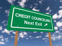 Credit counceling next exit sign Royalty Free Stock Photography