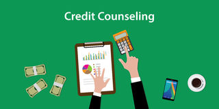 Credit counseling concept illustration with a man counting on a paperworks and using a calculator Stock Photography