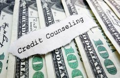 Credit Counseling concept. Credit Counseling paper message on money stock photography