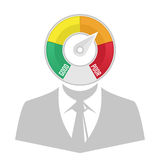 Credit counter silhouette of a man. Vector infographics of displaying the Credit Score Gauge description. Credit counter Royalty Free Stock Images