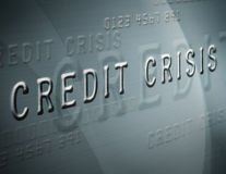 Credit Crisis. Close up of credit card style text with the words credit crisis Stock Image