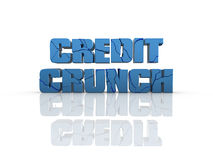 Credit crunch. Cracked Credit Crunch 3d text, on reflective surface royalty free illustration