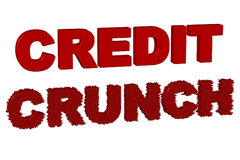 Credit Crunch. Lettering 3d Render on a White Background Royalty Free Stock Photo