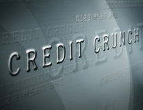 Credit Crunch. Close up of credit card style text with the words credit crunch Royalty Free Stock Photography