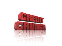 Credit crunch. Cracked Credit Crunch 3d text, on reflective surface. See my portfolio for alternative view royalty free illustration
