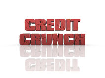 Credit crunch. Cracked Credit Crunch 3d text, on reflective surface. See my portfolio for alternative view stock illustration