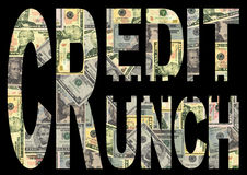 Credit crunch with dollars. Credit Crunch text with American dollars background royalty free illustration