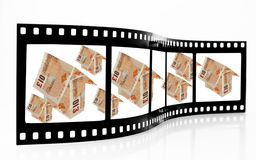 Credit Crunch Film Strip. Showing houses made of bank notes stock image