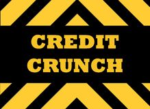 Credit crunch hazard sign. In yellow and black Royalty Free Stock Photo