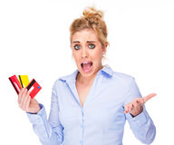 Credit Crunch Stressed Woman Holding Credit Cards Royalty Free Stock Image