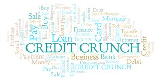 Credit Crunch word cloud. Wordcloud made with text only stock illustration