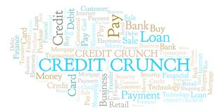 Credit Crunch word cloud. Wordcloud made with text only royalty free illustration