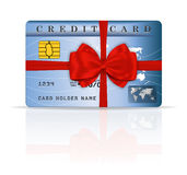 Credit or debit card design with red ribbon and bo. W. Vector illustration Stock Images