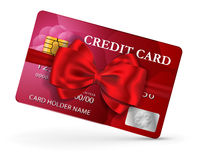 Credit or debit card design with red ribbon and bow. Vector illustration Royalty Free Stock Photography