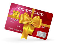 Credit or debit card design with yellow ribbon and bow. Vector illustration Royalty Free Stock Image