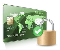 Credit or debit card and padlock stock illustration