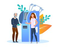 Credit or Debit Card Replenishment Terminal Flat. An Older Man Replenishes Credit Card at Bank Terminal. People are Standing Near Atm. Young Woman Helps an royalty free illustration
