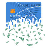 Credit or debit card which is transformed into cash.  Royalty Free Stock Photo