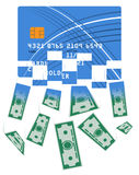 Credit or debit card which is transformed into cash. Translation from the electronic form of money into bills. Large sum Royalty Free Stock Photography