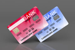 Credit and debit cards. On gray background royalty free illustration