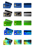 Credit and debit cards. Set of colorful credit and debit cards Royalty Free Stock Images