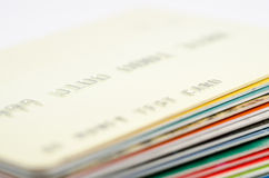 Credit/debit cards stack. Money growth. Copy text Royalty Free Stock Photography