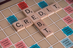 Credit Debit Scrabble Concept Royalty Free Stock Photo