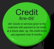 Credit Definition Button Showing Cashless Payment Or Loan. Credit Definition Button Shows Cashless Payment Or Loan Stock Photography