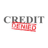 Credit Denied Word Stamp. Denied grungy red rubber stamp over credit word illustration Stock Image