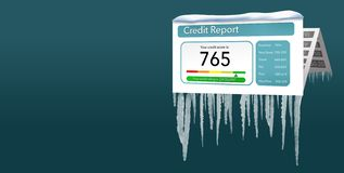 A credit freeze, or freeze on your credit report is represented with icicles and snow on a mock credit report isolated on the royalty free illustration