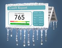 A credit freeze, or freeze on your credit report is represented with icicles and snow on a mock credit report isolated on the back stock illustration