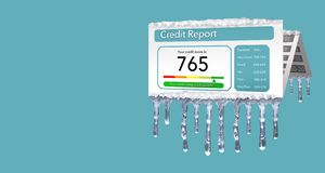 A credit freeze, or freeze on your credit report is represented with icicles and snow on a mock credit report isolated on the back royalty free illustration