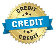 Credit. Gold badge with blue ribbon royalty free illustration