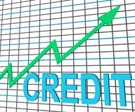 Credit Graph Chart Shows Buy Increase Grow Debt. Credit Graph Chart Showing Buy Increase Grow Debt Stock Images