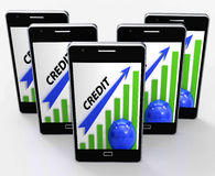 Credit Graph Phone Means Financing Lending And Repayments. Credit Graph Phone Meaning Financing Lending And Repayments Royalty Free Stock Image