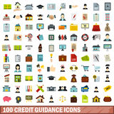 100 credit guidance icons set, flat style. 100 credit guidance icons set in flat style for any design vector illustration royalty free illustration