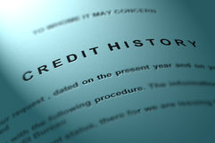Credit history. Credit history document on textured paper Stock Photography