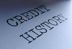 Credit history. Closeup on credit history heading Royalty Free Stock Images